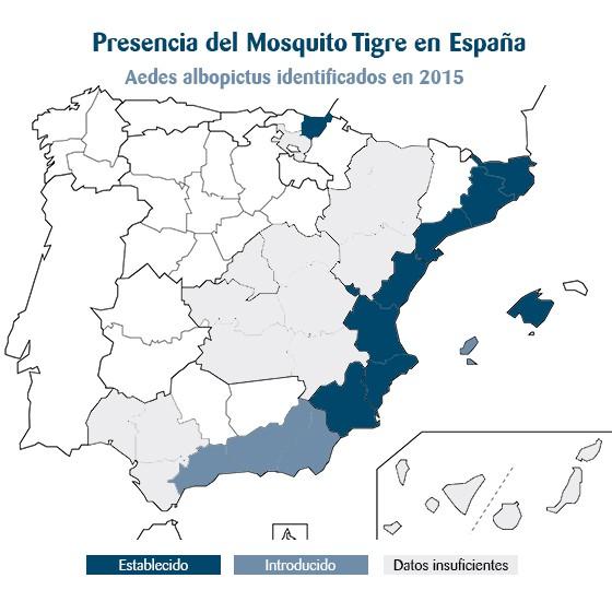 El mosquito tigre en España aquí os dejamos un mapa de la presencia del mosquito tigre en España